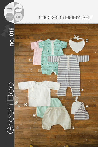 Modern Baby Set - Green Bee Patterns