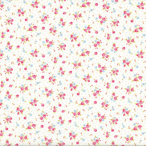 Antique Flower - Roses and Dots - White - Lecien