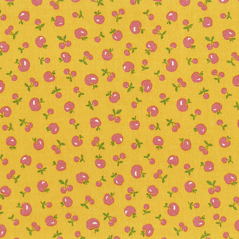 Retro 30's Child Smile Spring 2018 - Apples and Cherries - Yellow - Lecien