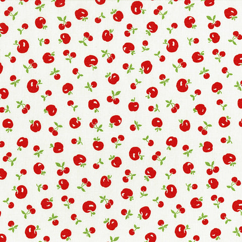 Retro 30's Child Smile Spring 2018 - Apples and Cherries - Red on Cream - Lecien