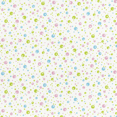 Retro 30's Child Smile Spring 2018 - Bubbles - Pink, Blue and Green on White - Lecien