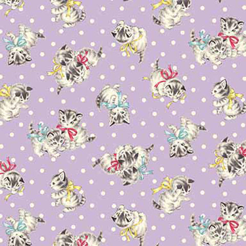 Little Kittens - Dots and Kittens - Purple - Quilt Gate