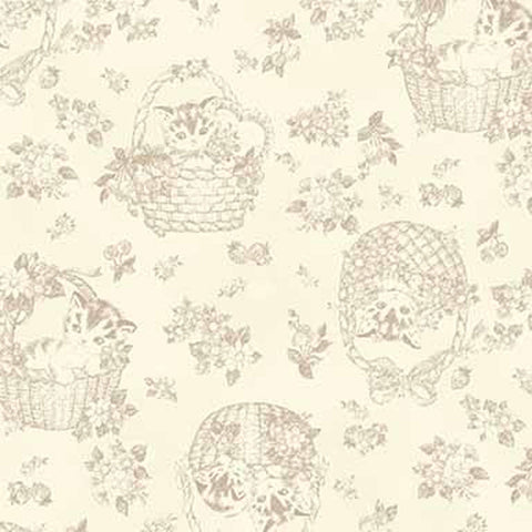 Little Kittens - Kitten Toile - Off White - Quilt Gate