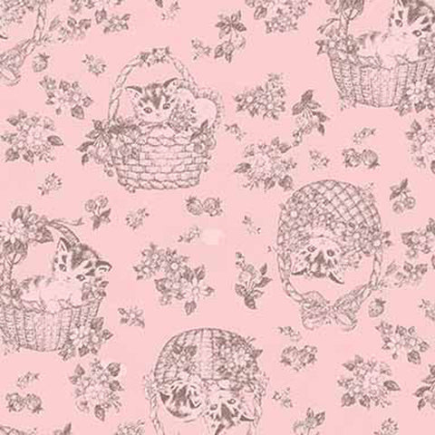 Little Kittens - Kitten Toile - Pink - Quilt Gate