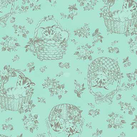 Little Kittens - Kitten Toile - Mint - Quilt Gate