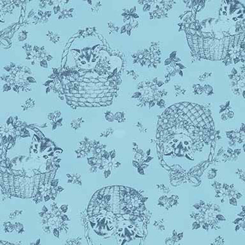 Little Kittens - Kitten Toile - Blue - Quilt Gate
