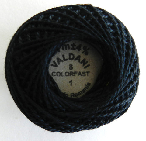 Valdani Size 8 Perle Cotton - Color 1 Black