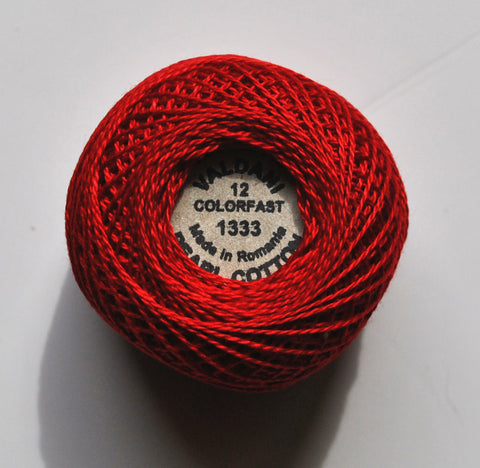 Valdani Size 12 Perle Cotton - Color 1333 Christmas Red