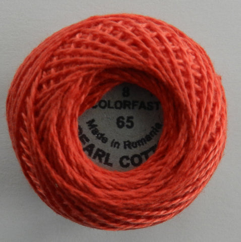 Valdani Size 8 Perle Cotton - Color 65 Orange Red