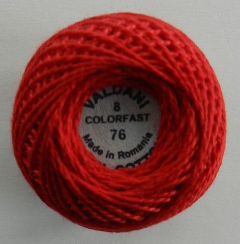Valdani Size 8 Perle Cotton - Color 76 Christmas Red