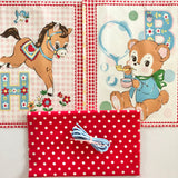 Happy Baby Panel Drawstring Kit - Horse and Bear - Red Gingham