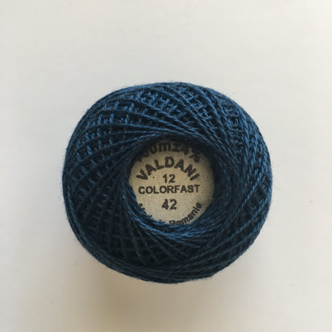 Valdani Size 12 Perle Cotton - Color 42 Deep Blue Teal