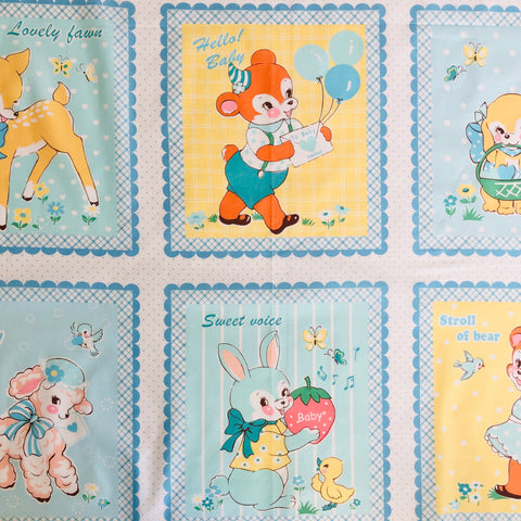 Lovely Animal Panel - Baby Blue - 30's Collection - Atsuko Matsuyama - Yuwa