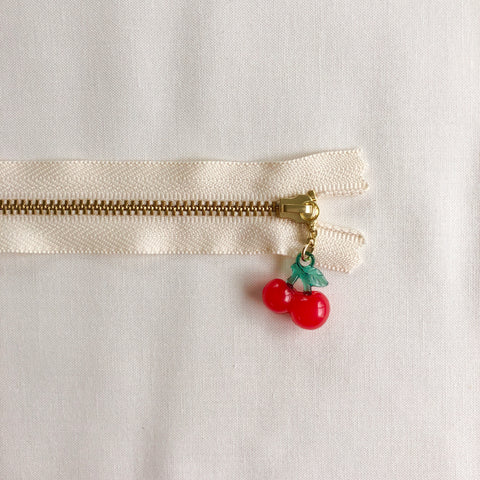 Cherry Fruit Zipper - Antique Red