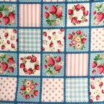Strawberry Patchwork - Blue - Very Cotton - Kokka