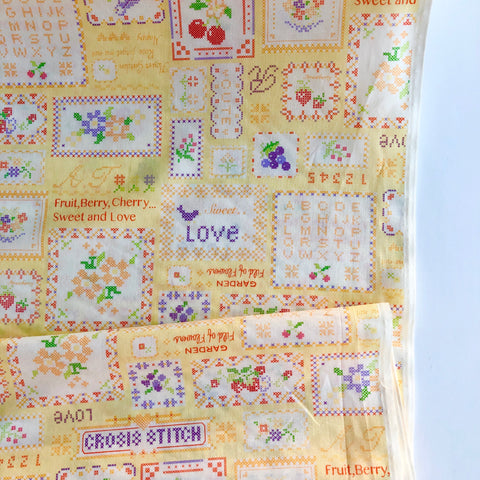 Cross Stitch Sampler - Yellow - 30's Collection - Atsuko Matsuyama - Yuwa