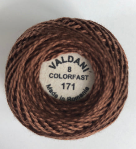 Valdani Size 8 Perle Cotton - Color 171 Rich Brown Light