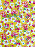Strawberry and Gingham Hearts - Yellow - Very Cotton - Kokka