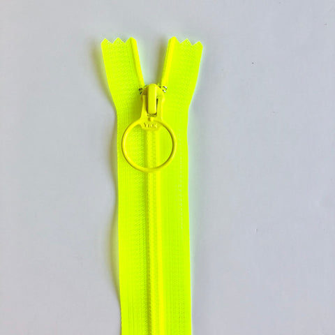 Neon Skeleton Zipper - Highlighter Yellow - YKK