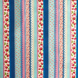 Strawberry Stripe - Blue - Very Cotton - Kokka