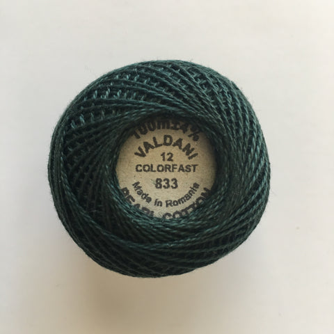 Valdani Size 12 Perle Cotton - Color 833 Spruce Green - Dark
