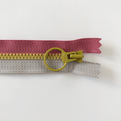 Tricolor Zipper - Mauve and Grey with Mustard Pull  - YKK