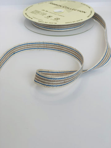 Linen stripe ribbon - Blue and Natural