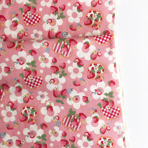Strawberry and Gingham Hearts - Pink- Very Cotton - Kokka