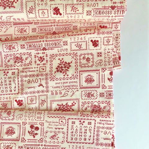 Cross Stitch Sampler - Red - 30's Collection - Atsuko Matsuyama - Yuwa