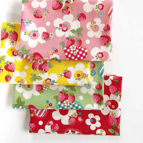 Strawberry and Gingham Hearts Bundle - Very Cotton - Kokka