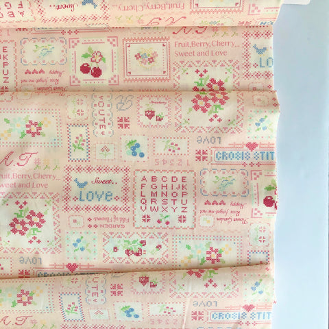 Cross Stitch Sampler - Pink - 30's Collection - Atsuko Matsuyama - Yuwa