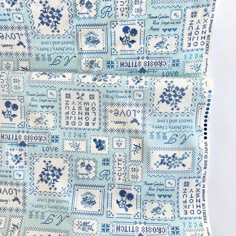 Cross Stitch Sampler - Blue - 30's Collection - Atsuko Matsuyama - Yuwa
