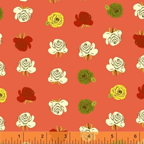 Far, Far Away 2 - Roses on Coral (red /orange) - Heather Ross - Windham
