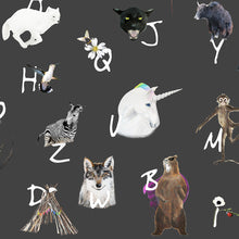 let your kids learn the A-Z in a fun way! The dark A-Z animal alphabet wallpaper perfect for a children's bedroom/playroom or nursery.