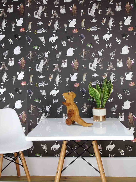 Learn your ABC with this cool modern kids dark A-Z alphabet animal wallpaper perfect for a children's bedroom/playroom or nursery. Dance with the monkeys, unicorns and rabbits as your learn!