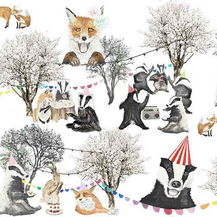 Our Woodland print story is inspired by a teddy bears picnic, an old fashioned and