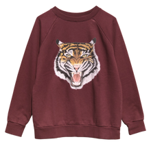 Women's Oversized Burgundy Tiger Sweatshirt