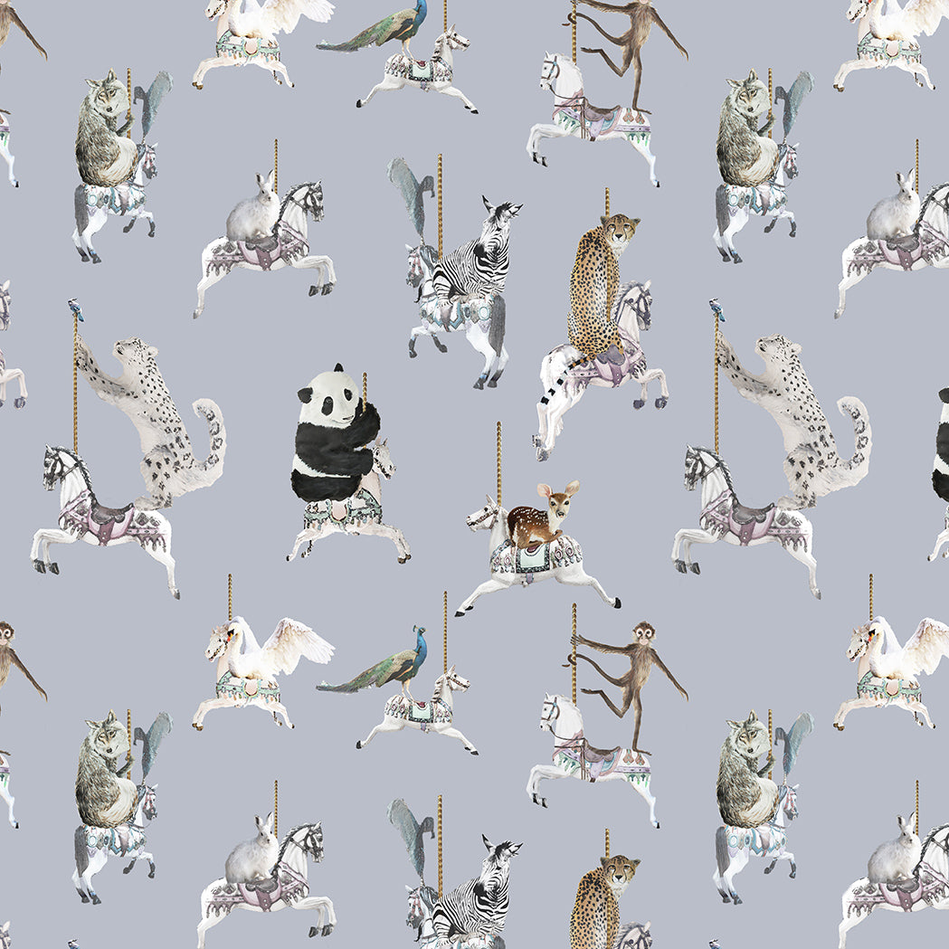 fabric sample in light blue with snow leopards, pandas, monkeys, peacocks, perfect for a beautiful pretty modern girls bedroom or playroom.  Hand painted designs.