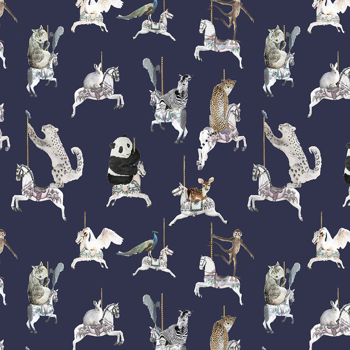 fabric sample in navy blue with sea shells, pandas, monkeys, peacocks, perfect for a beautiful pretty modern girls bedroom or playroom.  Hand painted designs.