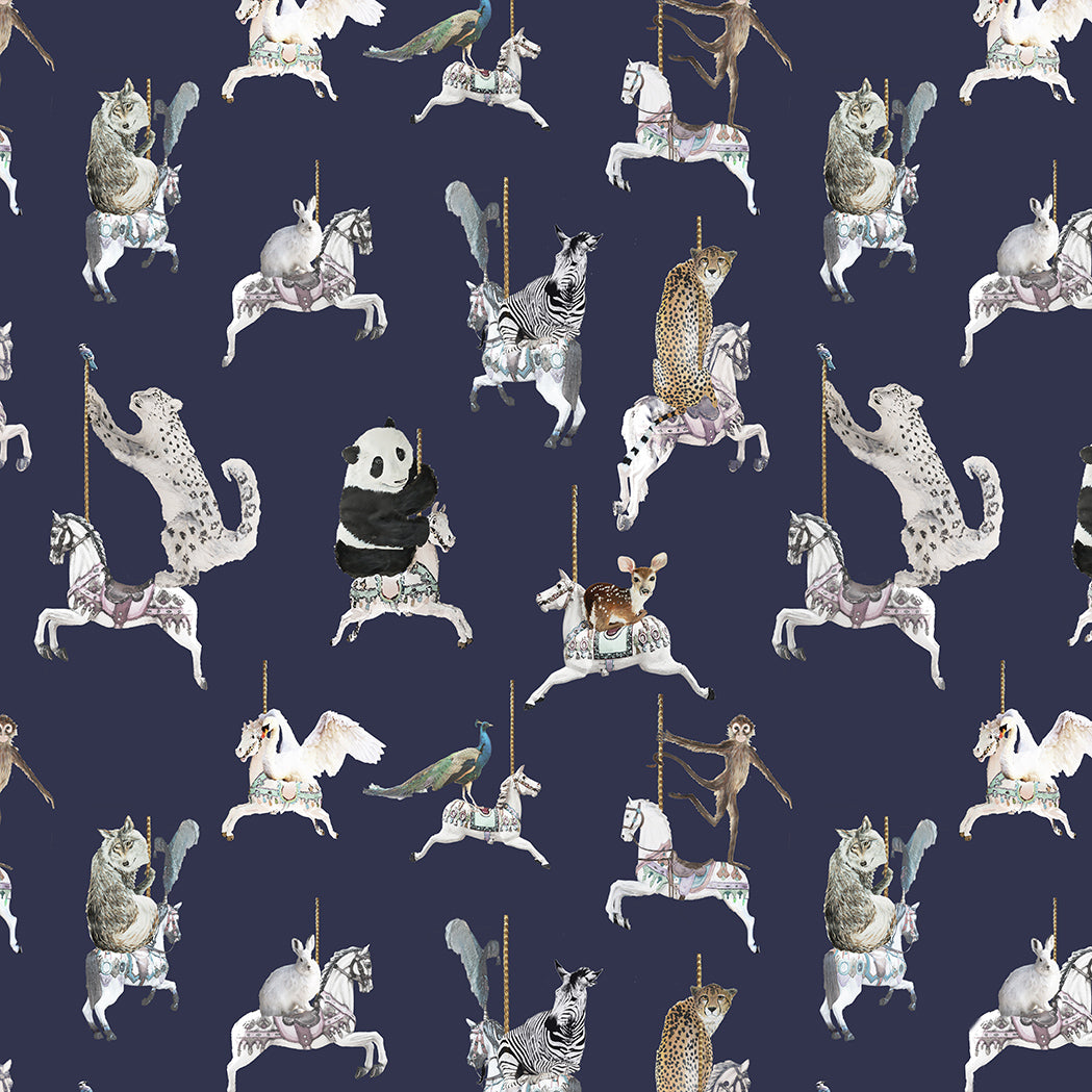 fabric sample in navy with snow leopards, pandas, monkeys, peacocks, perfect for a beautiful pretty modern girls bedroom or playroom.  Hand painted designs.