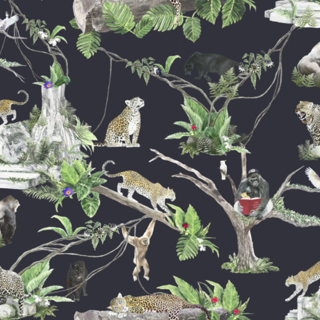 jungle wallpaper in dark ink, perfect for children and adults and teenagers