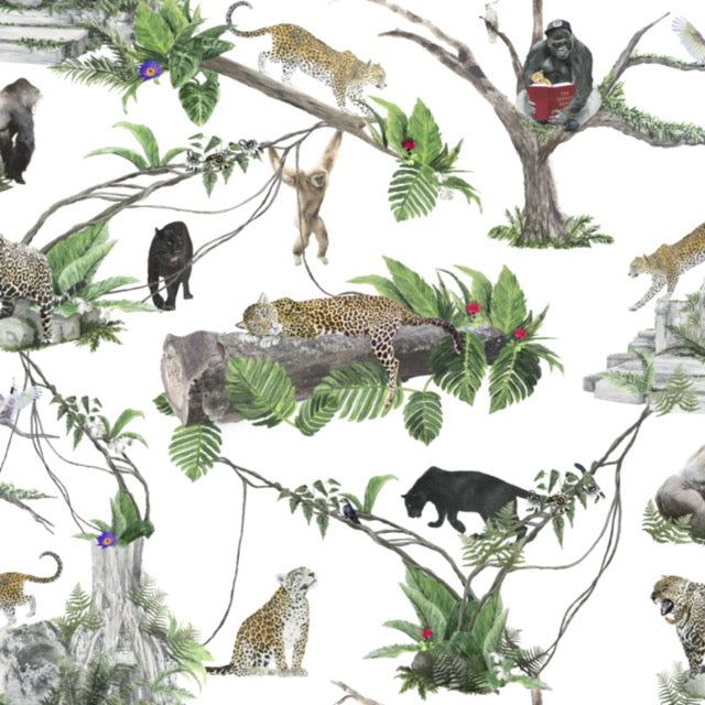 jungle fabric with gorillas and leopards, great for curtains, blinds, headboards and chairs.  Safari time with the kids!