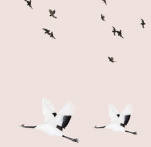 Birds in Flight Wallpaper - Pink