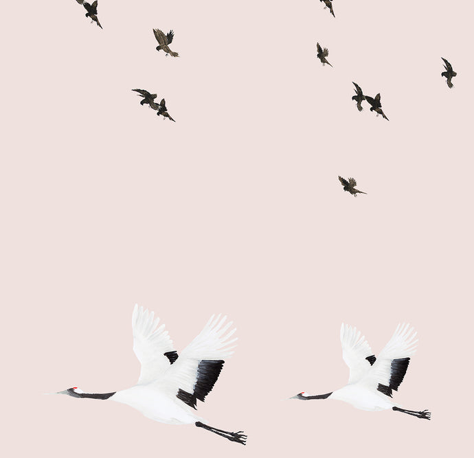 Birds in Flight Wallpaper Sample- Pink