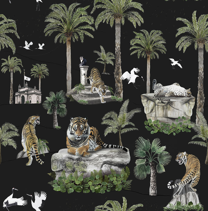 Imperial Tiger Wallpaper Sample - Black