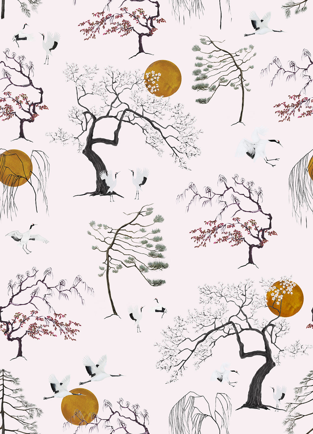 Japanese Sunset Wallpaper - Pale Pink