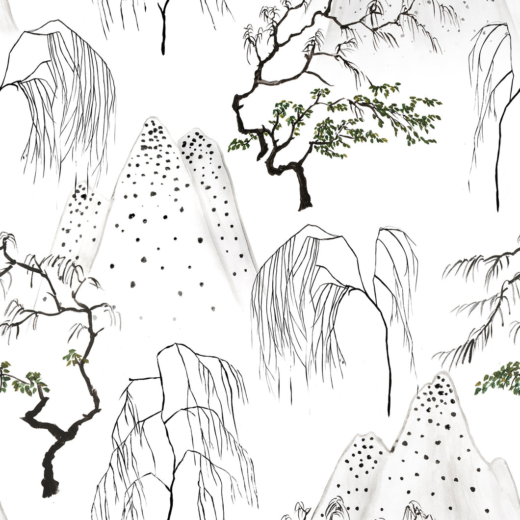 Japanese Trees Wallpaper - White
