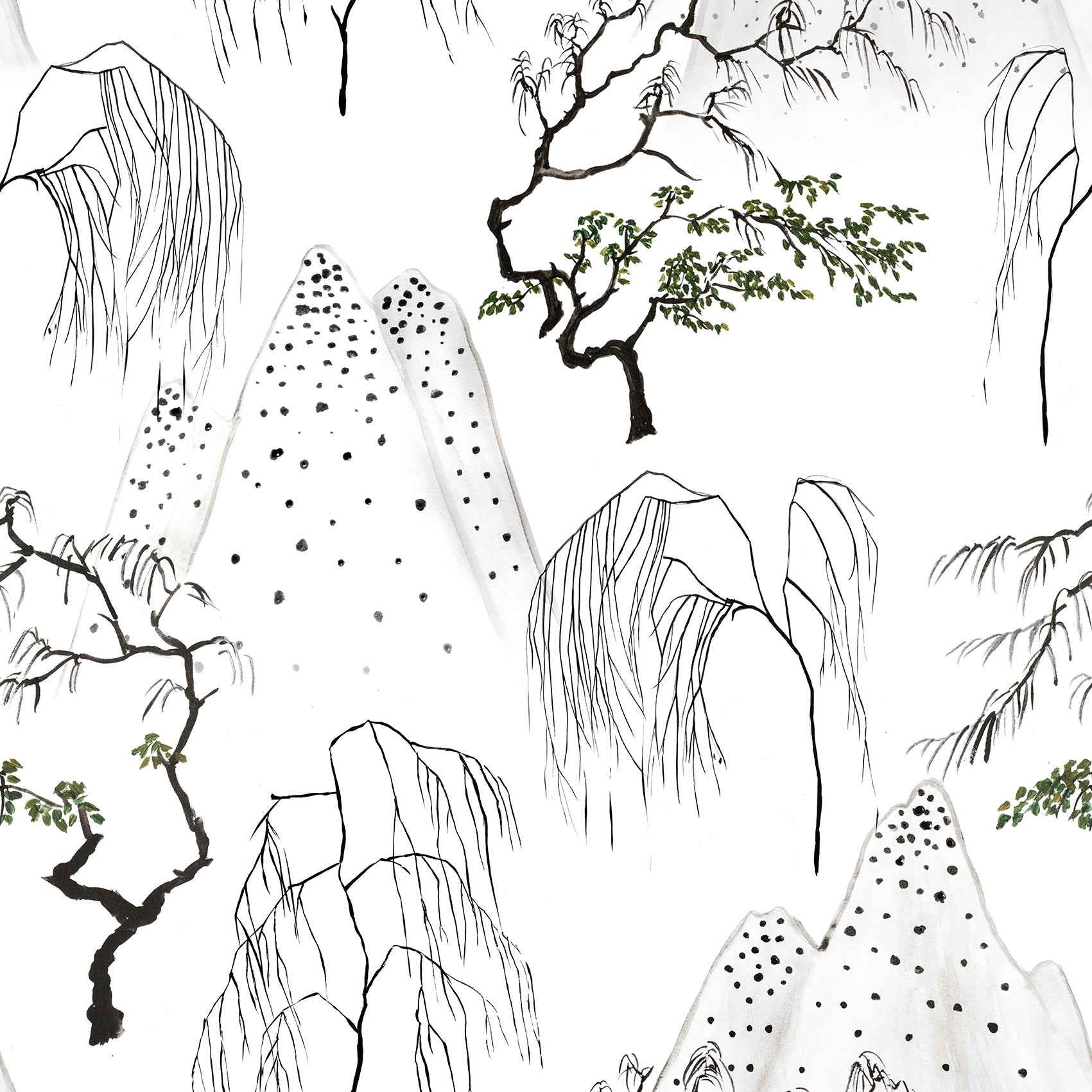 Japanese Trees Wallpaper  Sample - White