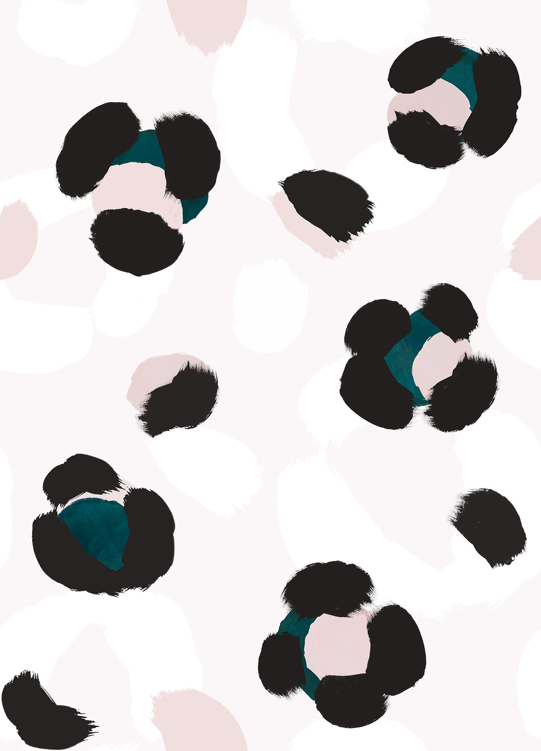 Large Leopard Splodge Wallpaper - Teal