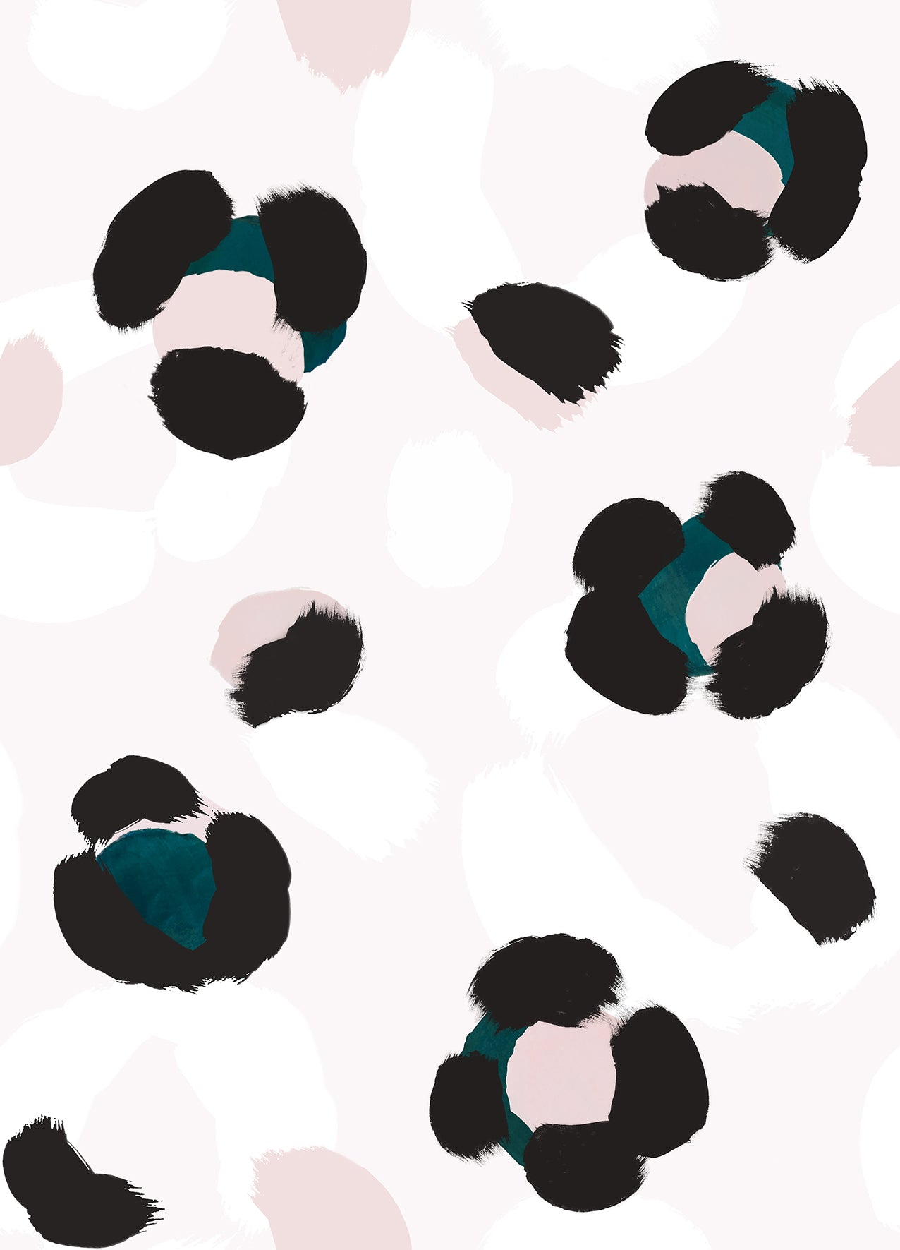 Large Leopard Print Wallpaper Sample - Teal